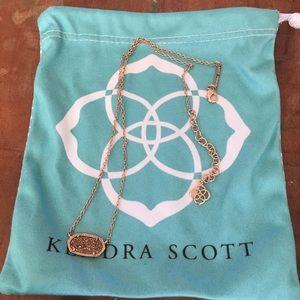 Kendra Scott Elisa Necklace Rose Gold Gold Drusy